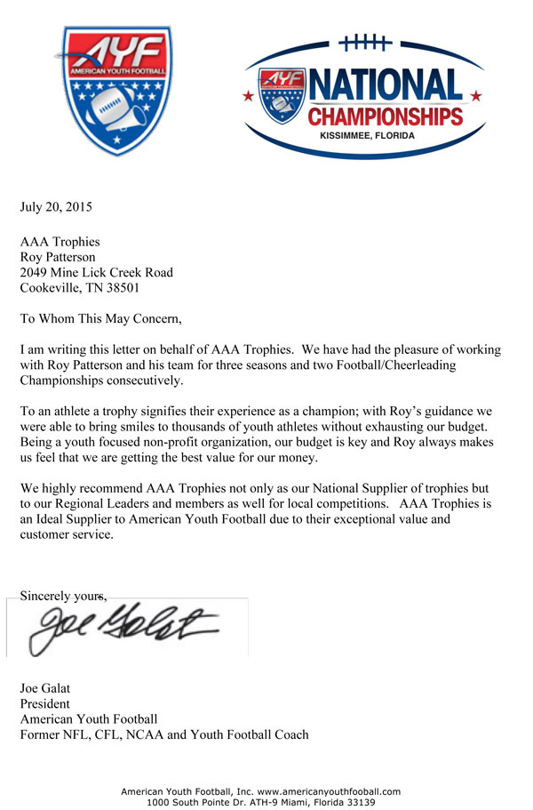 American youth football trophies american youth football awards letter of recommendation below from joe galat president ayf altavistaventures Gallery